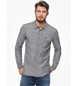 "Wrangler ""L/S 1PKT Flap Shirt Dark"" Grey Mel"