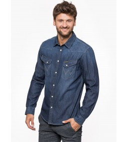 "Wrangler ""Western Denim Shirt"" Dark Indigo"