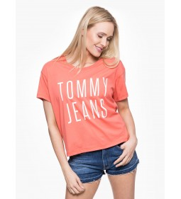 "Tommy Jeans ""Cropped Logo Tee"" Coral"