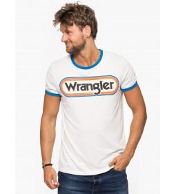"""Wrangler """"Logo Ringer Tee"""" Off White"""