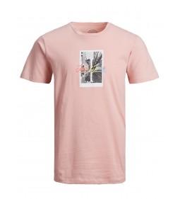 """Jack & Jones """"Jorboardingpass Tee""""  Silver Pink"""