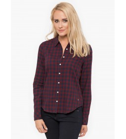 "Mustang ""Check Blouse"" Burgundy Red"