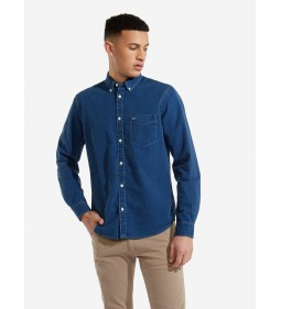 "Wrangler ""LS 1PKT Button Down"" Light Indigo"