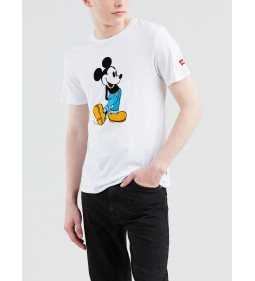 """Levi's """"Graphic Set-In Neck"""" Mickey Front Back White"""