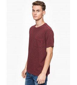 "Mustang ""Striped Tee"" Burgundy"