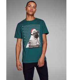 "Jack & Jones ""Jorphotoxmas Tee"" Deep Teal"