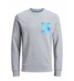 "Jack & Jones ""Jorfloral Pocket Sweat"" Light Grey Melange"