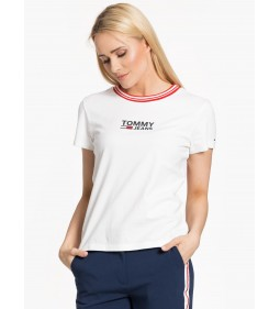 "Tommy Jeans ""Rib Stripe Neck Tee"" White"