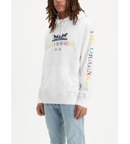 "Levi's ""Graphic Po Hoodie-B"" 90ls Logo Text White"