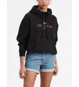 """Levi's """"I Unbasici Hoodie"""" Is Text Logo Hoodie Meteorite"""
