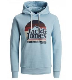 """Jack & Jones """"Jorwilmer Sweat Hood"""" Forget-Me-Not"""