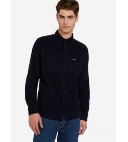 "Wrangler ""2Pkt Flap Shirt"" Navy"