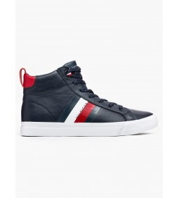 """Tommy Hilfiger """"Flag Detail Leather Sneaker High"""" Midnight"""